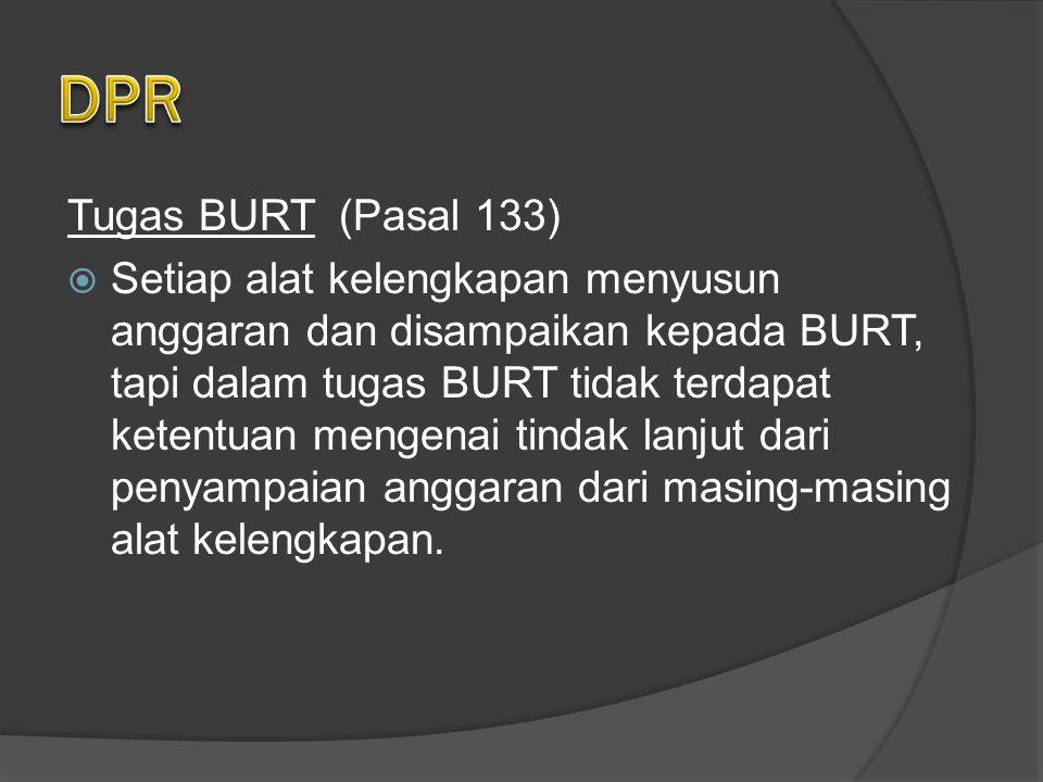 DPR Tugas BURT (Pasal 133)