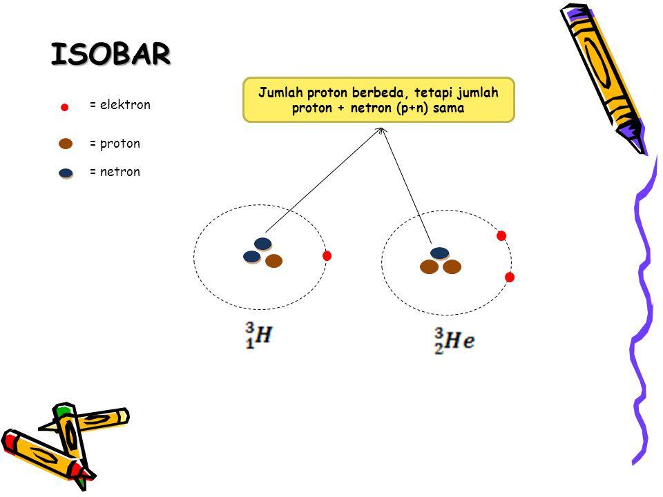 Jumlah proton berbeda, tetapi jumlah proton + netron (p+n) sama