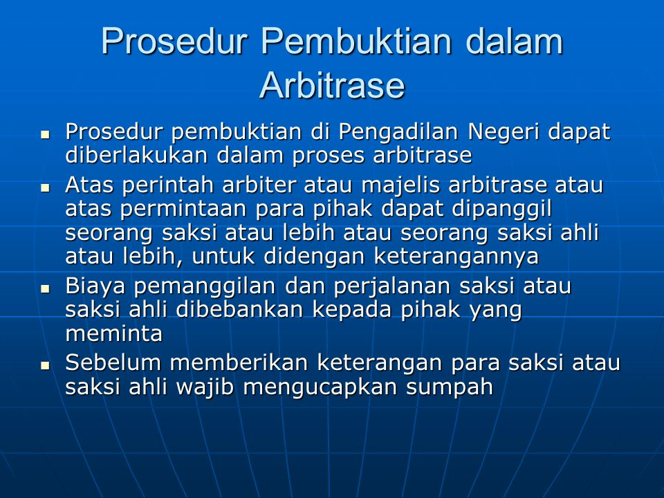 Prosedur Pembuktian dalam Arbitrase