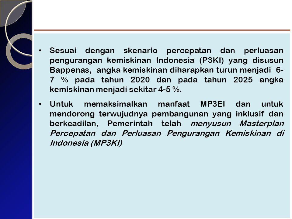 Sesuai dengan skenario percepatan dan perluasan pengurangan kemiskinan Indonesia (P3KI) yang disusun Bappenas, angka kemiskinan diharapkan turun menjadi 6- 7 % pada tahun 2020 dan pada tahun 2025 angka kemiskinan menjadi sekitar 4-5 %.