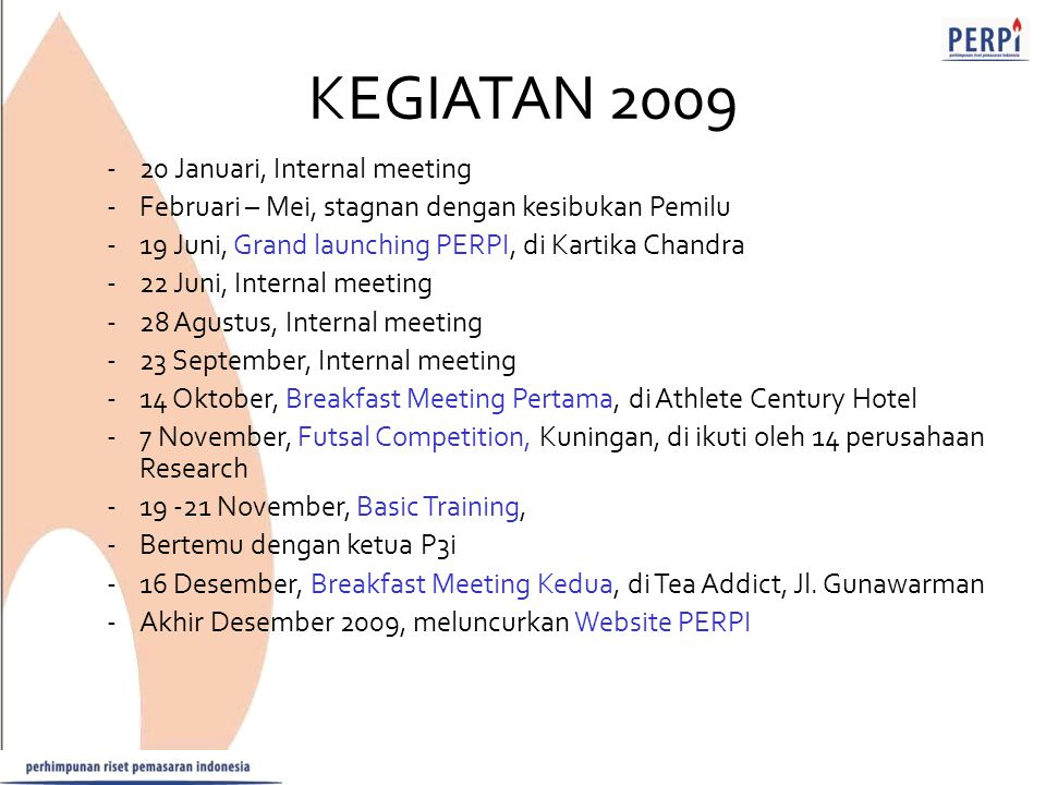 KEGIATAN 2009 20 Januari, Internal meeting