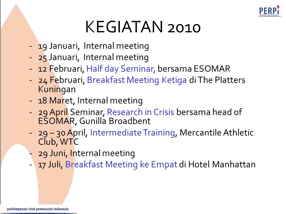 KEGIATAN 2010 19 Januari, Internal meeting