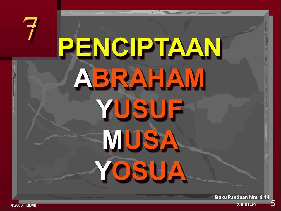 7 PENCIPTAAN ABRAHAM YUSUF MUSA YOSUA Buku Panduan hlm. 8-14 5 49