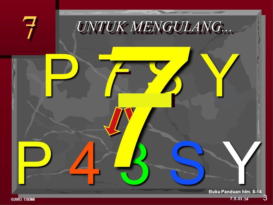 7 7 UNTUK MENGULANG... P 7 S Y P 4 3 S Y Buku Panduan hlm. 8-14 3 54