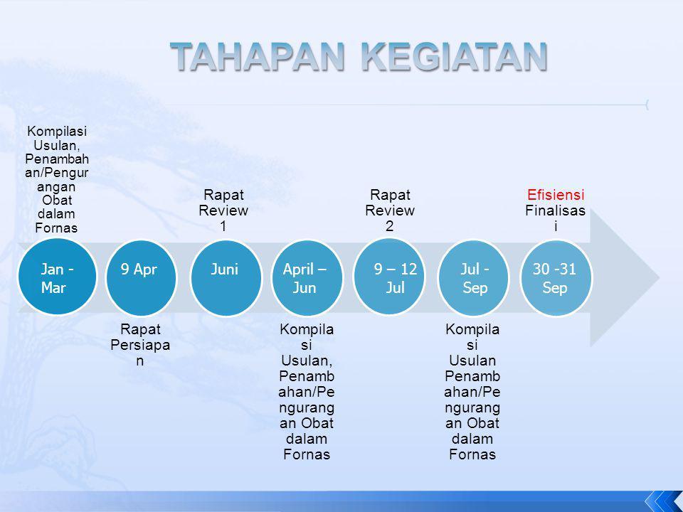 TAHAPAN KEGIATAN Rapat Persiapan Rapat Review 1 Rapat Review 2