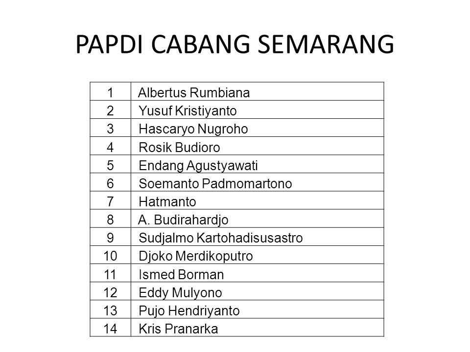 PAPDI CABANG SEMARANG 1 Albertus Rumbiana 2 Yusuf Kristiyanto 3