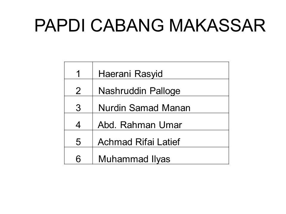 PAPDI CABANG MAKASSAR 1 Haerani Rasyid 2 Nashruddin Palloge 3
