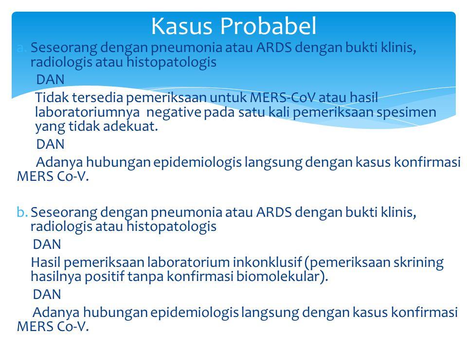 Kasus Probabel Seseorang dengan pneumonia atau ARDS dengan bukti klinis, radiologis atau histopatologis.