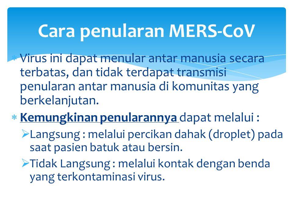 Cara penularan MERS-CoV