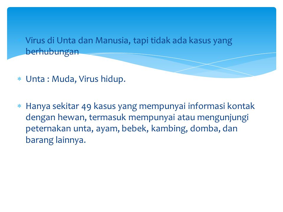 Virus di Unta dan Manusia, tapi tidak ada kasus yang berhubungan