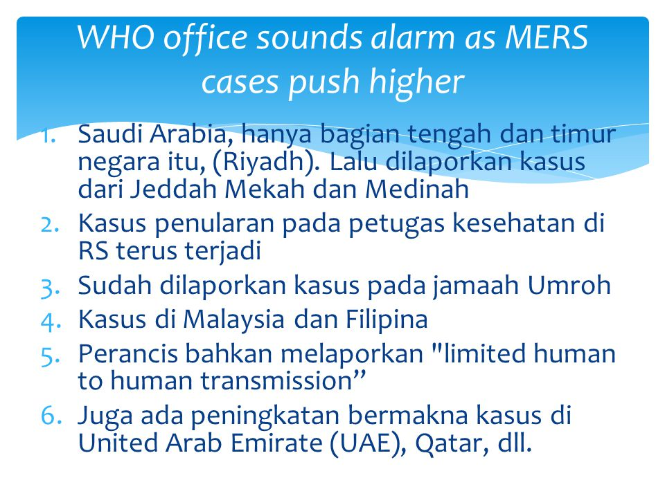 WHO office sounds alarm as MERS cases push higher