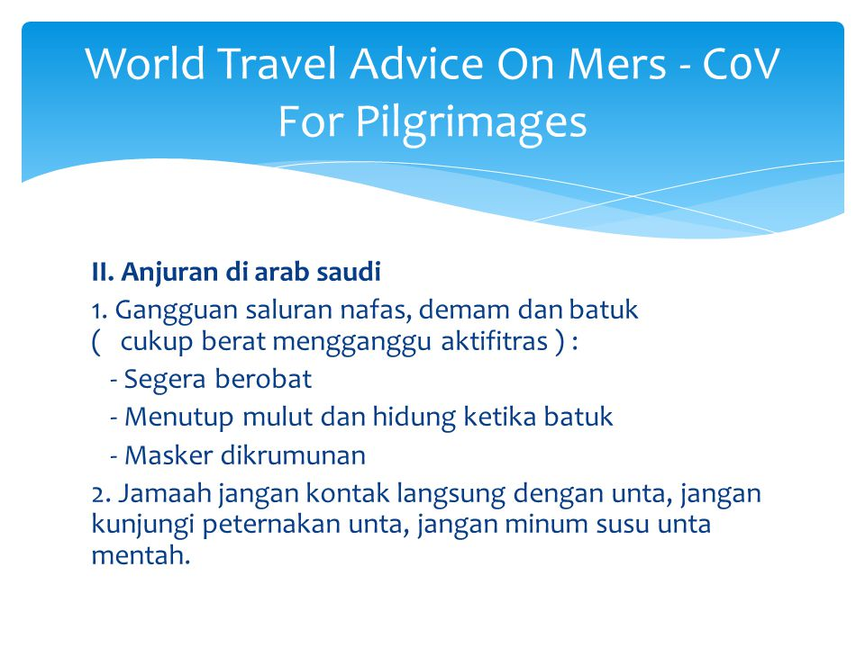 World Travel Advice On Mers - C0V For Pilgrimages