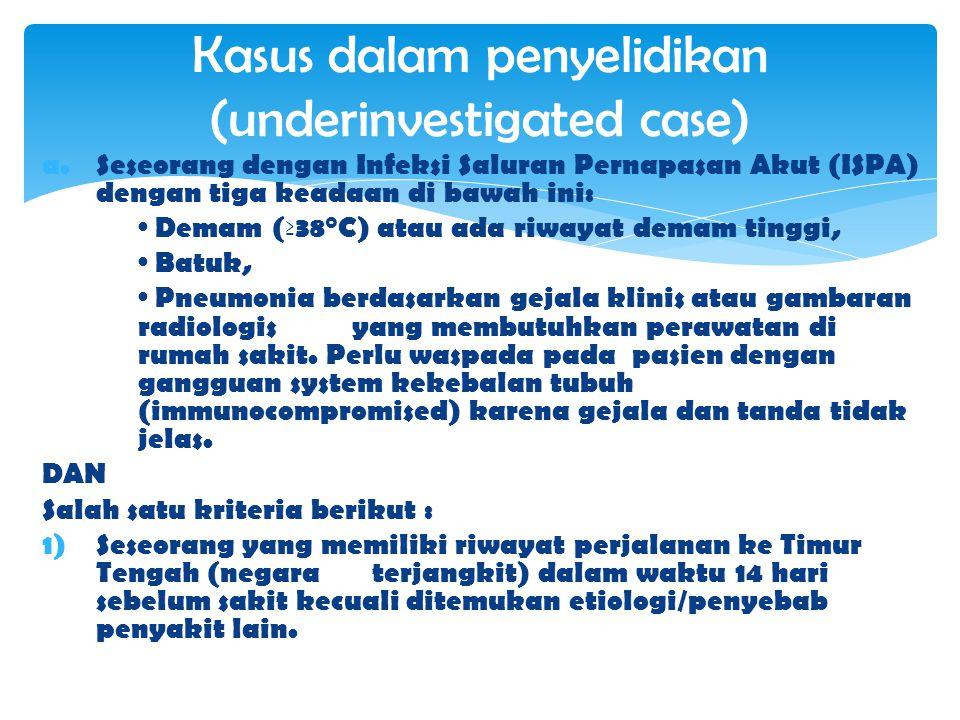 Kasus dalam penyelidikan (underinvestigated case)