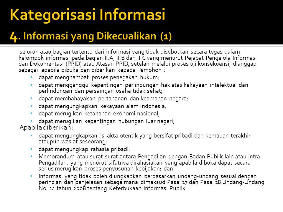 Kategorisasi Informasi 4. Informasi yang Dikecualikan (1)