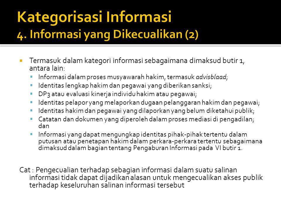 Kategorisasi Informasi 4. Informasi yang Dikecualikan (2)