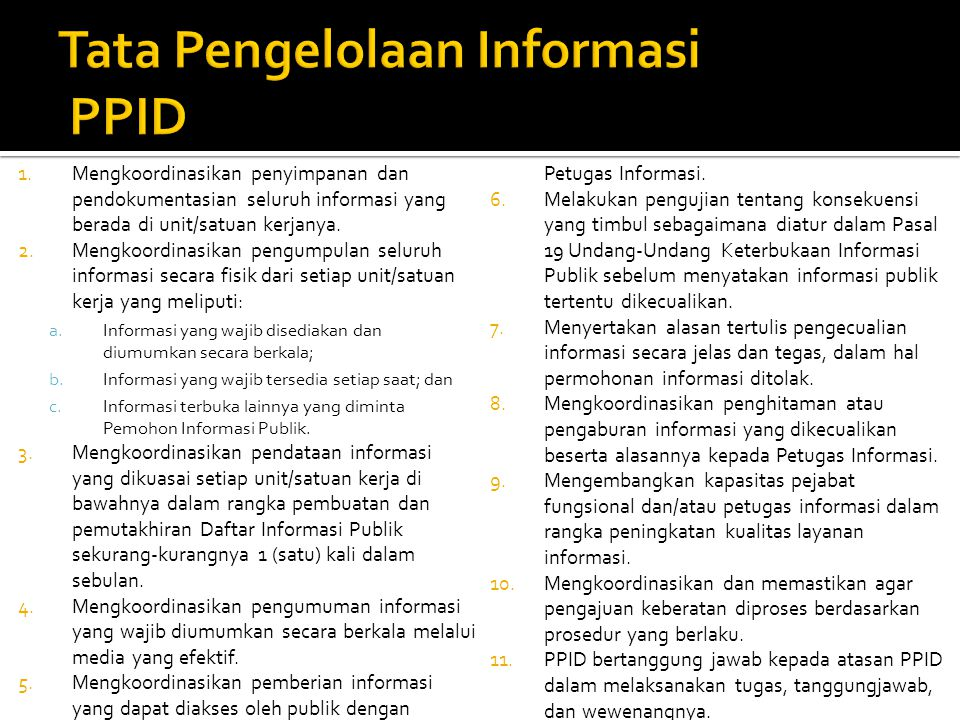 Tata Pengelolaan Informasi PPID