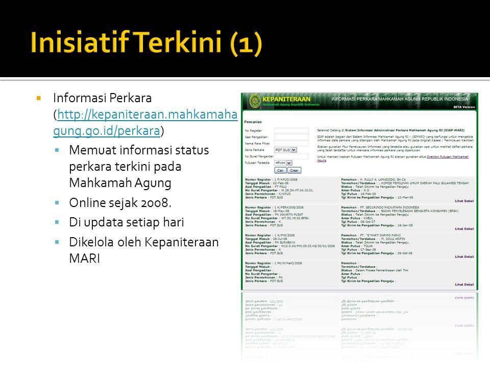 Inisiatif Terkini (1) Informasi Perkara (http://kepaniteraan.mahkamahagung.go.id/perkara)