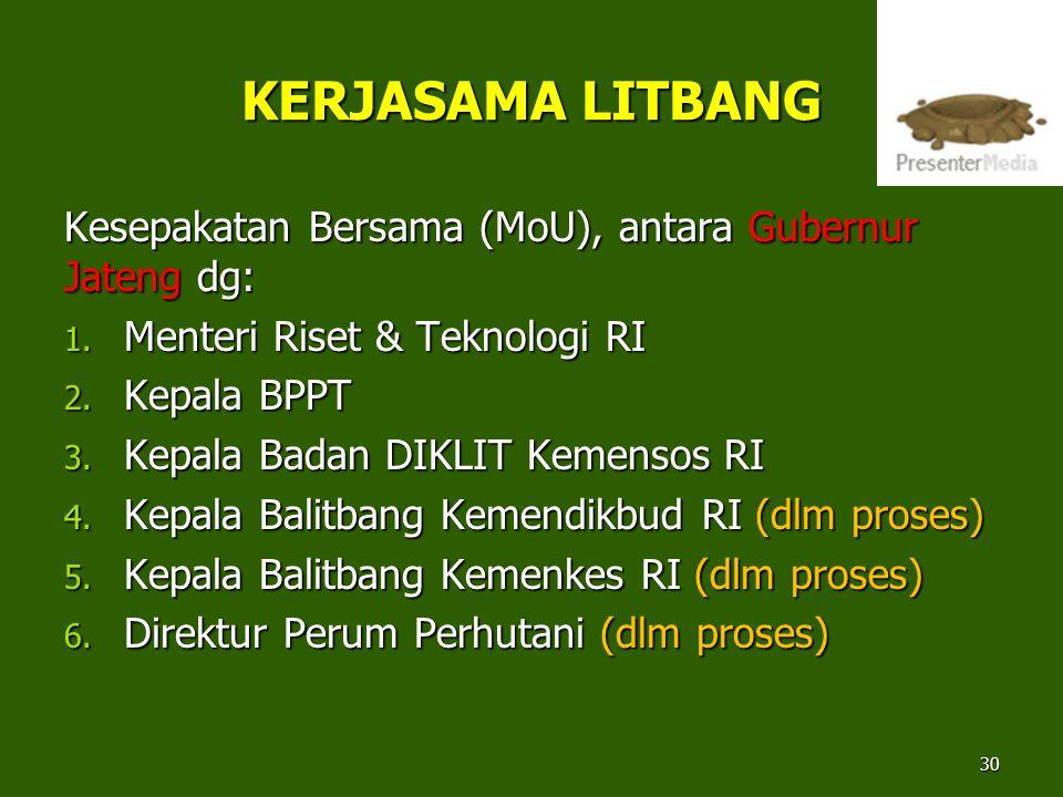 KERJASAMA LITBANG Kesepakatan Bersama (MoU), antara Gubernur Jateng dg: Menteri Riset & Teknologi RI.