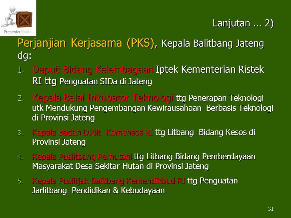 Perjanjian Kerjasama (PKS), Kepala Balitbang Jateng dg: