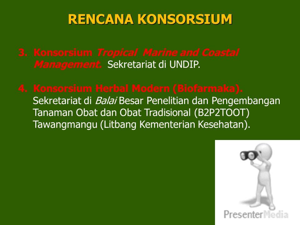RENCANA KONSORSIUM 3. Konsorsium Tropical Marine and Coastal Management. Sekretariat di UNDIP. Konsorsium Herbal Modern (Biofarmaka).