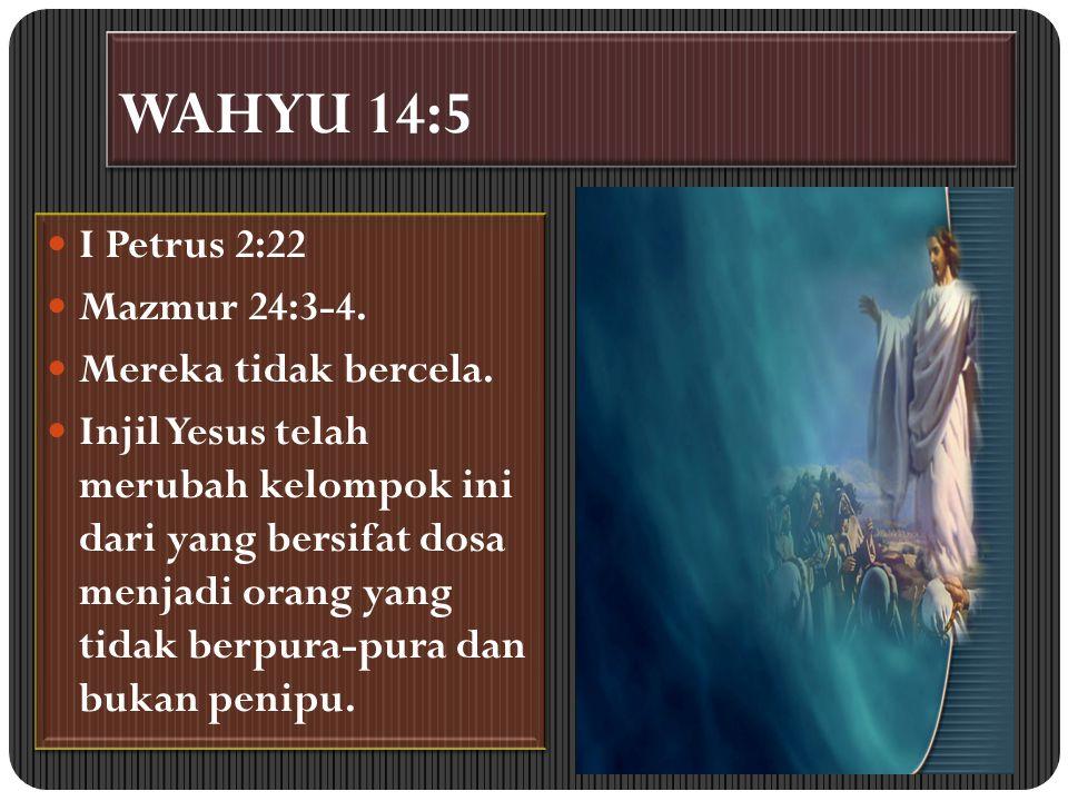 WAHYU 14:5 I Petrus 2:22 Mazmur 24:3-4. Mereka tidak bercela.