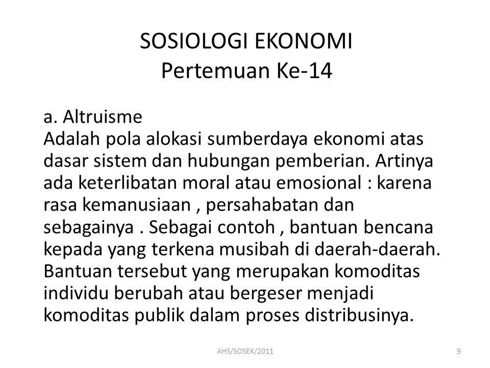 SOSIOLOGI EKONOMI Pertemuan Ke-14