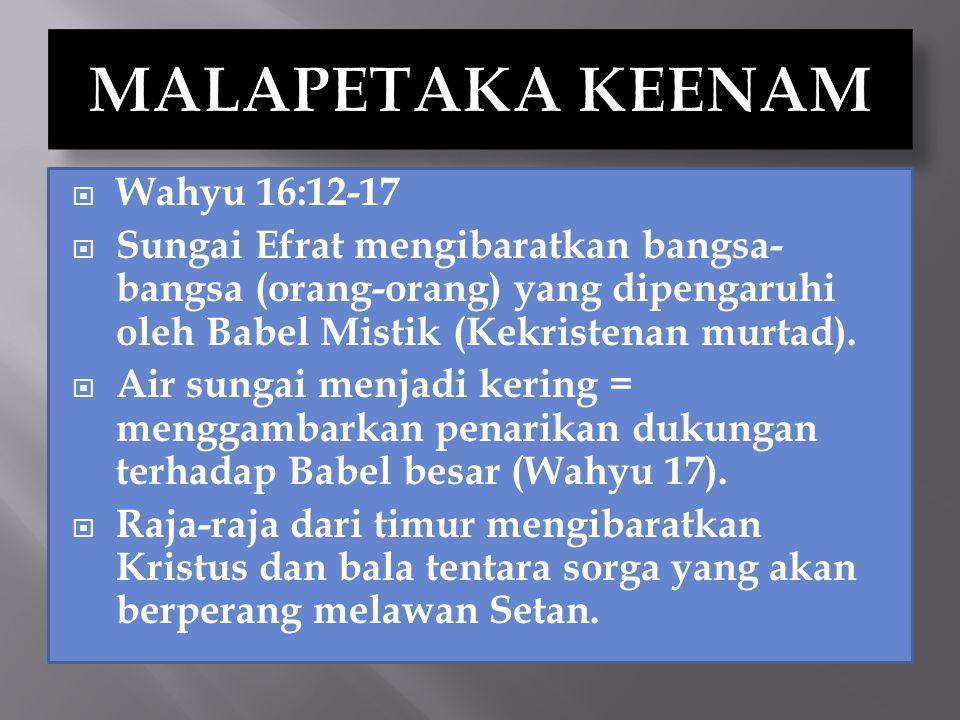 MALAPETAKA KEENAM Wahyu 16:12-17