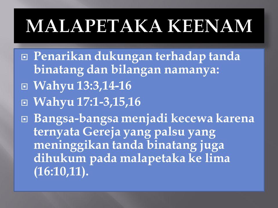 MALAPETAKA KEENAM Penarikan dukungan terhadap tanda binatang dan bilangan namanya: Wahyu 13:3,14-16.
