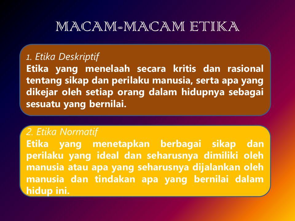 MACAM-MACAM ETIKA 1. Etika Deskriptif.