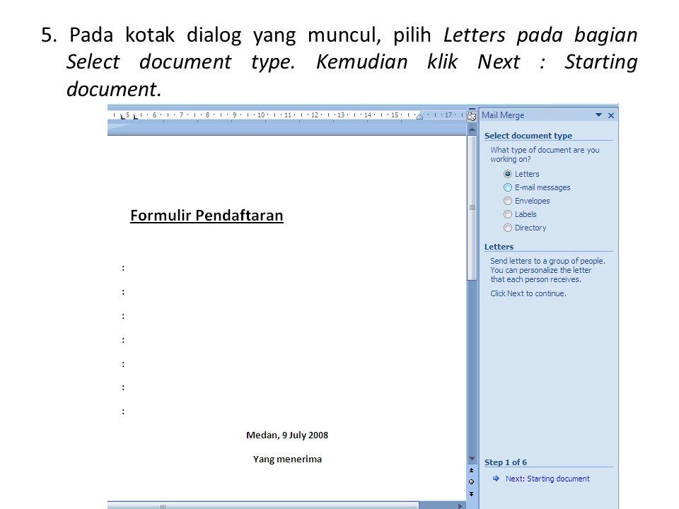 5. Pada kotak dialog yang muncul, pilih Letters pada bagian Select document type.