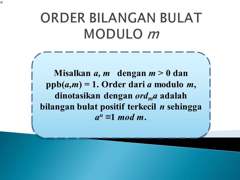 ORDER BILANGAN BULAT MODULO m
