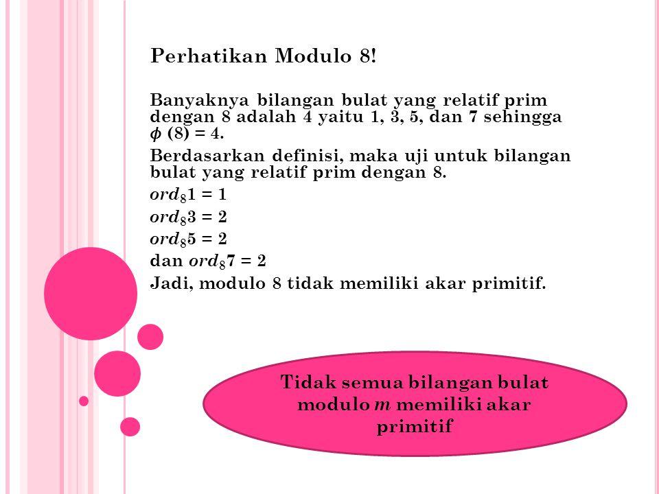 Tidak semua bilangan bulat modulo m memiliki akar primitif
