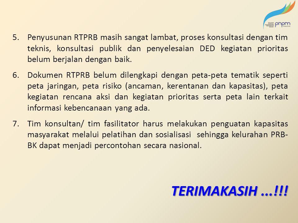 Penyusunan RTPRB masih sangat lambat, proses konsultasi dengan tim teknis, konsultasi publik dan penyelesaian DED kegiatan prioritas belum berjalan dengan baik.