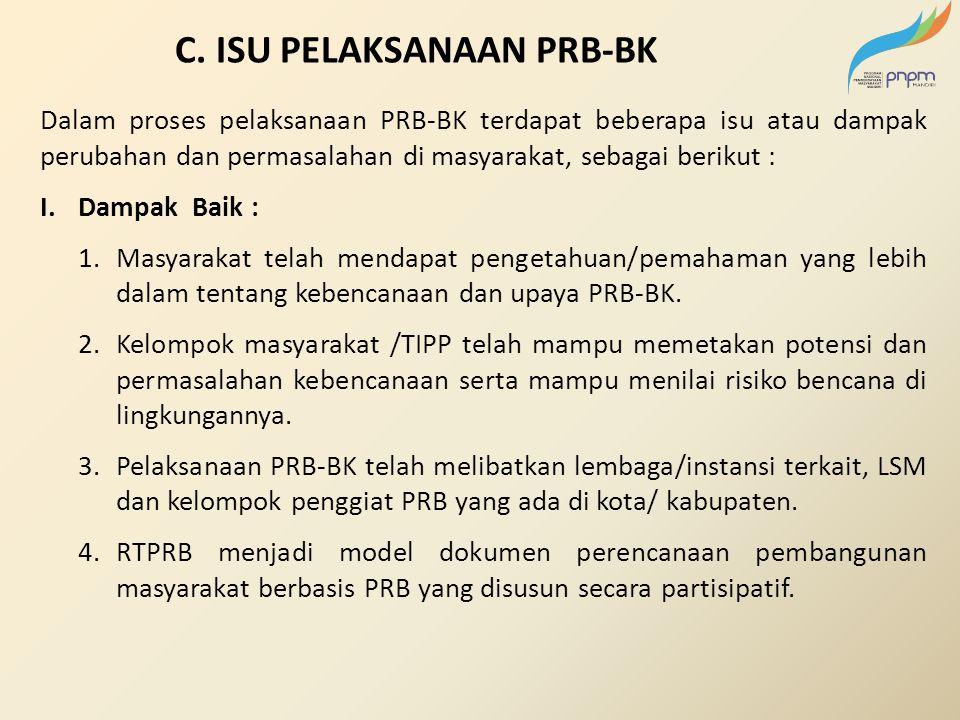C. ISU PELAKSANAAN PRB-BK