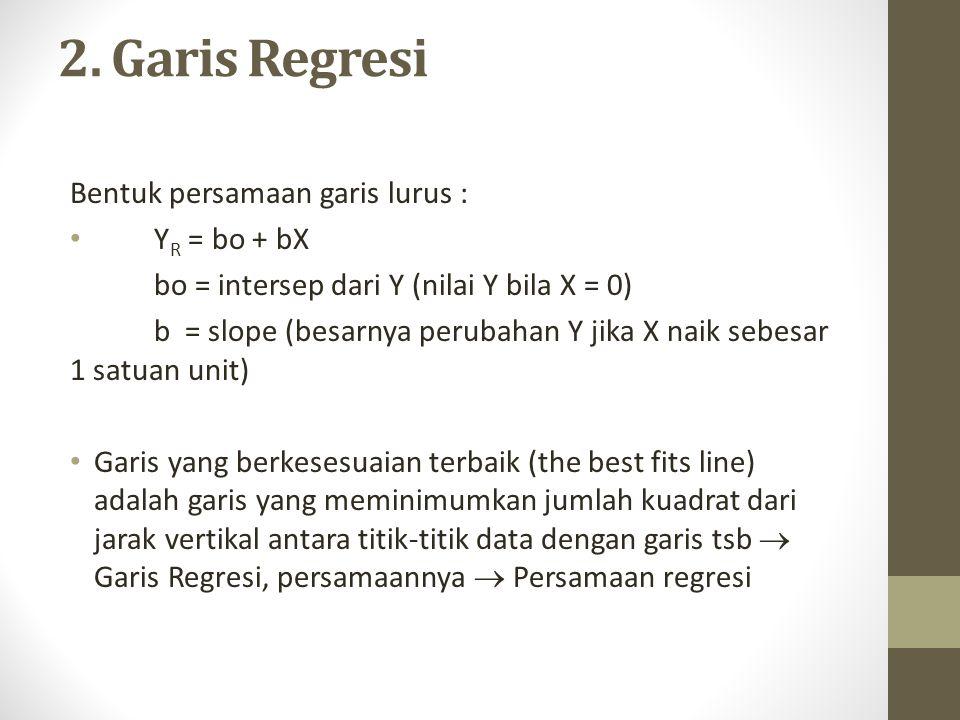 2. Garis Regresi Bentuk persamaan garis lurus : YR = bo + bX