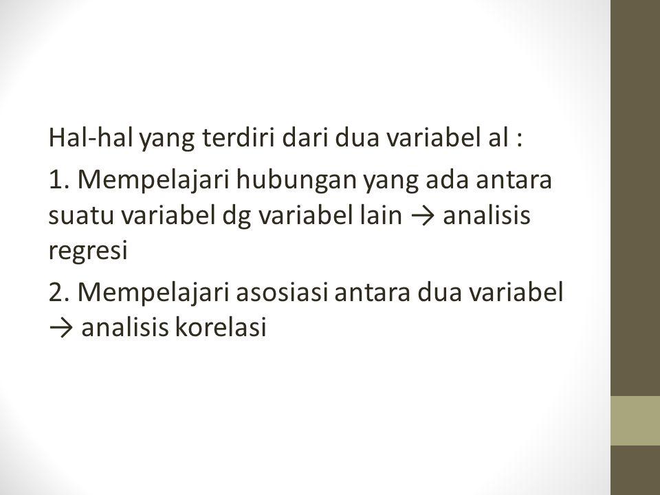 Hal-hal yang terdiri dari dua variabel al :