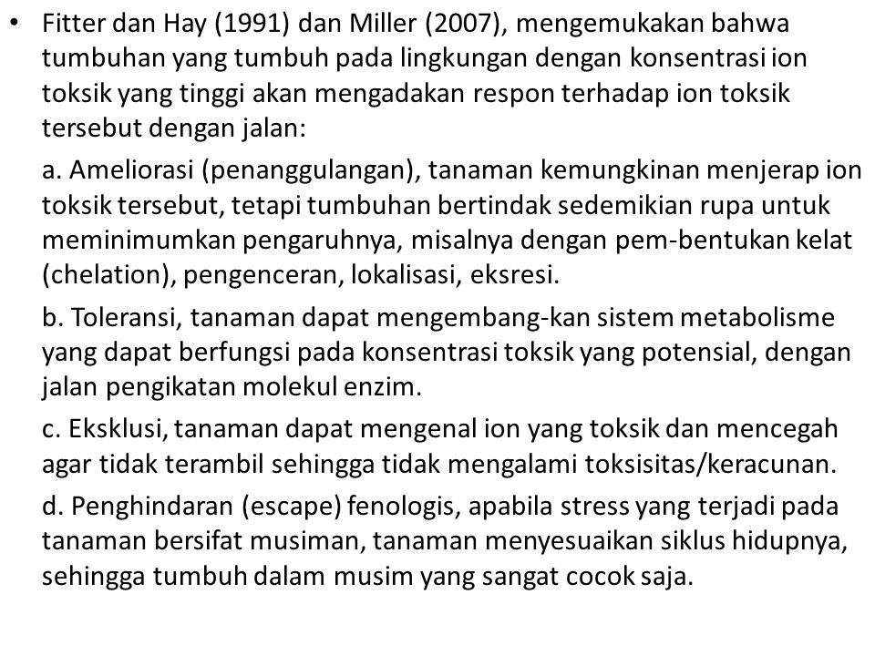 Fitter dan Hay (1991) dan Miller (2007), mengemukakan bahwa tumbuhan yang tumbuh pada lingkungan dengan konsentrasi ion toksik yang tinggi akan mengadakan respon terhadap ion toksik tersebut dengan jalan: