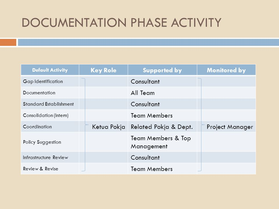 DOCUMENTATION PHASE ACTIVITY