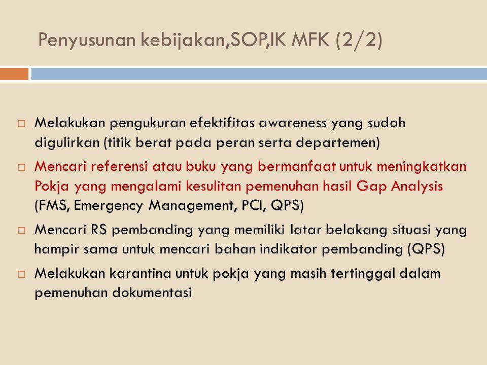 Penyusunan kebijakan,SOP,IK MFK (2/2)