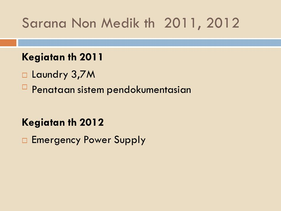 Sarana Non Medik th 2011, 2012 Kegiatan th 2011 Laundry 3,7M