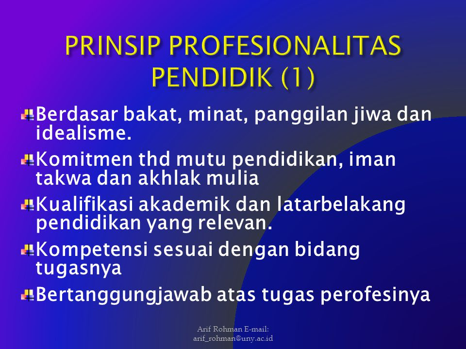 PRINSIP PROFESIONALITAS PENDIDIK (1)