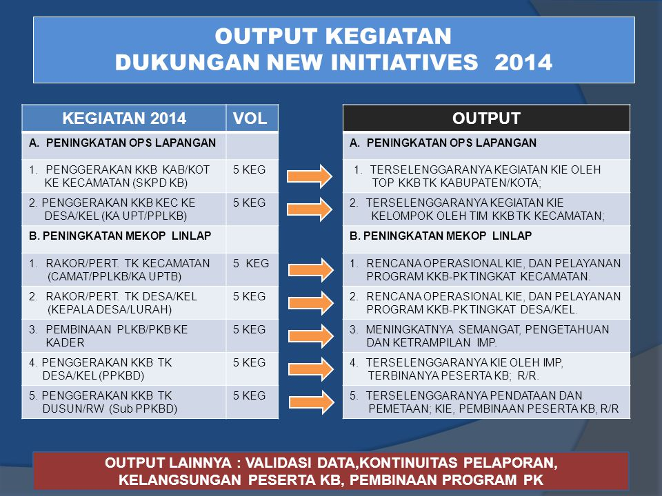 OUTPUT KEGIATAN DUKUNGAN NEW INITIATIVES 2014