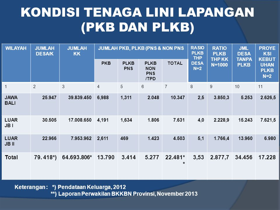 KONDISI TENAGA LINI LAPANGAN (PKB DAN PLKB)