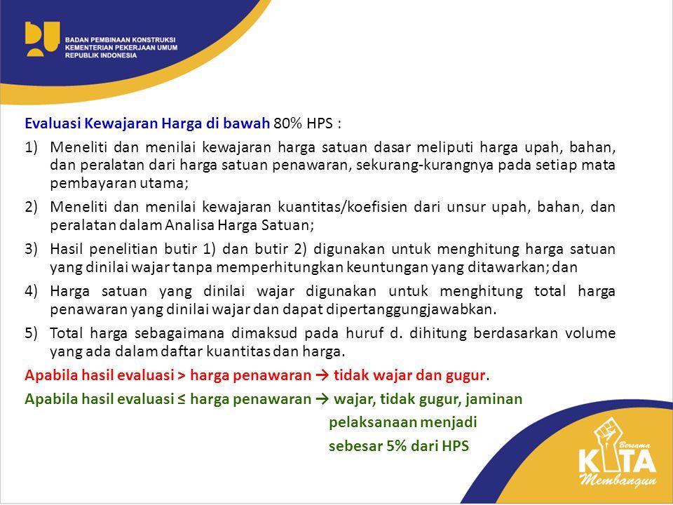Evaluasi Kewajaran Harga di bawah 80% HPS :