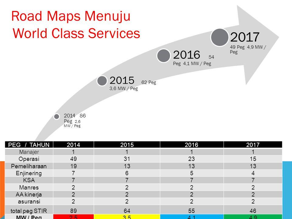 Road Maps Menuju World Class Services 2017 49 Peg 4,9 MW / Peg