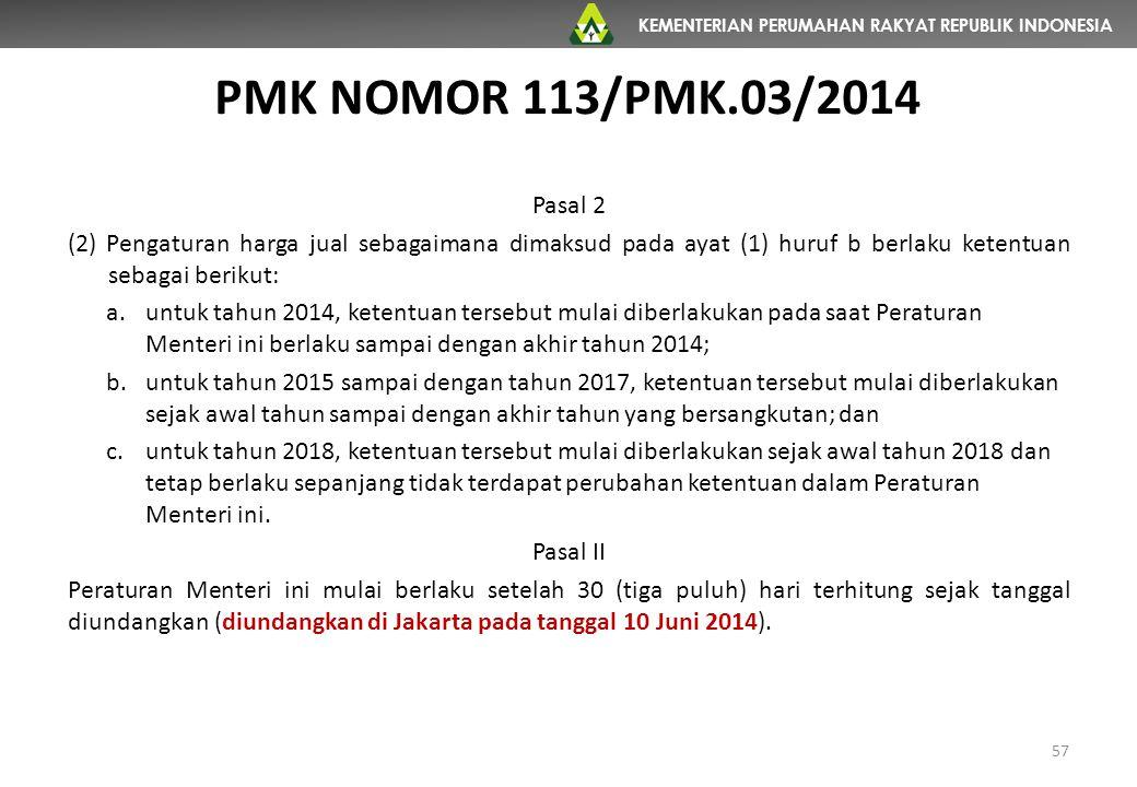 PMK NOMOR 113/PMK.03/2014 Pasal 2. (2) Pengaturan harga jual sebagaimana dimaksud pada ayat (1) huruf b berlaku ketentuan sebagai berikut: