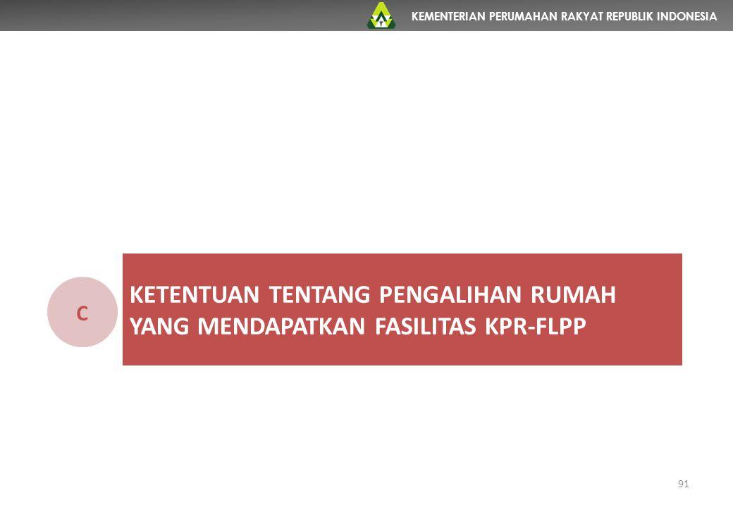 Ketentuan tentang pengalihan rumah YANG MENDAPATKAN FASILITAS KPR-FLPP