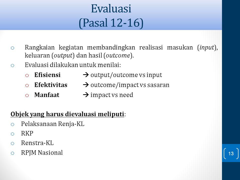 Evaluasi (Pasal 12-16) Rangkaian kegiatan membandingkan realisasi masukan (input), keluaran (output) dan hasil (outcome).