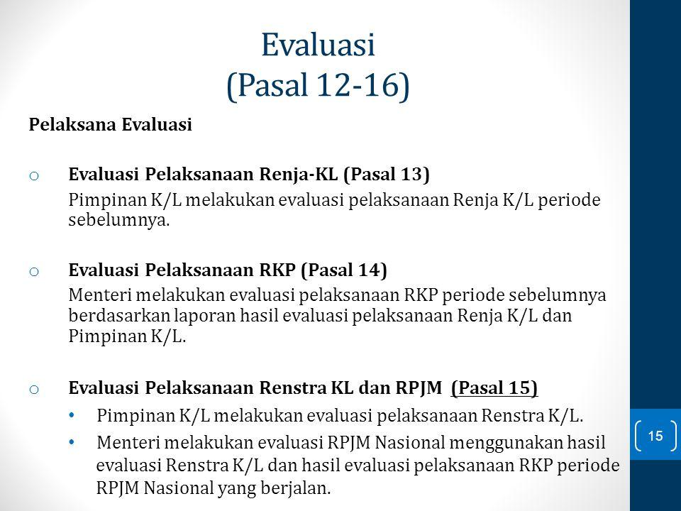 Evaluasi (Pasal 12-16) Pelaksana Evaluasi