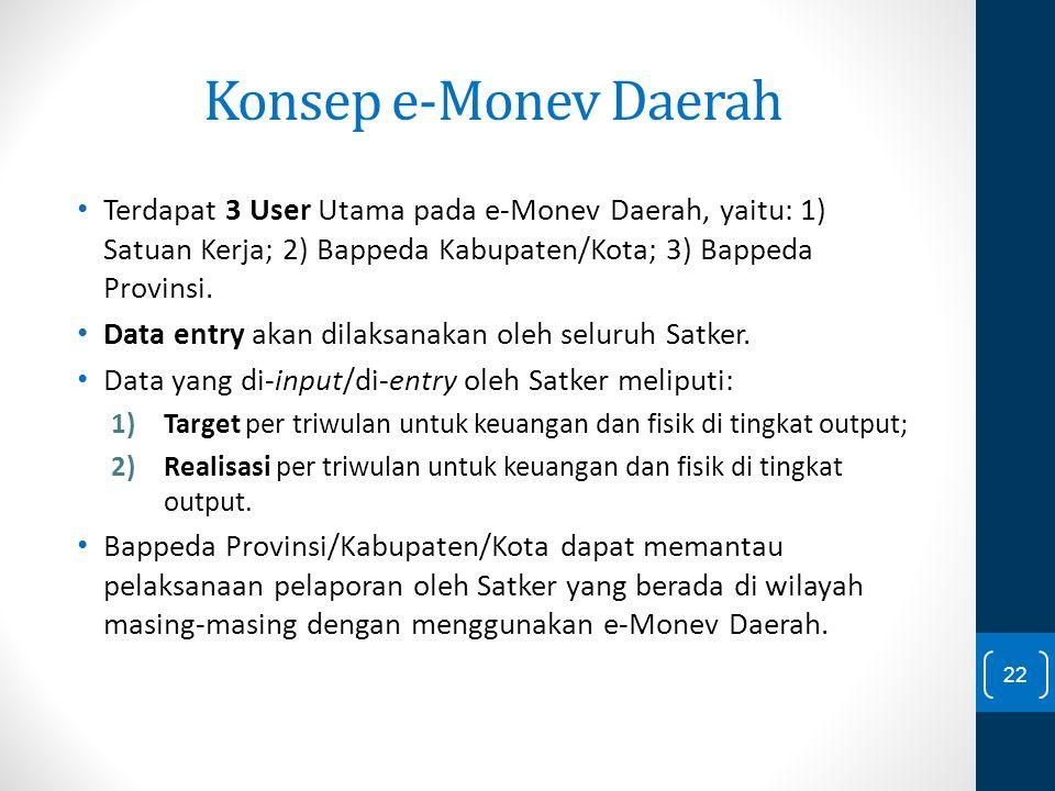 Konsep e-Monev Daerah Terdapat 3 User Utama pada e-Monev Daerah, yaitu: 1) Satuan Kerja; 2) Bappeda Kabupaten/Kota; 3) Bappeda Provinsi.